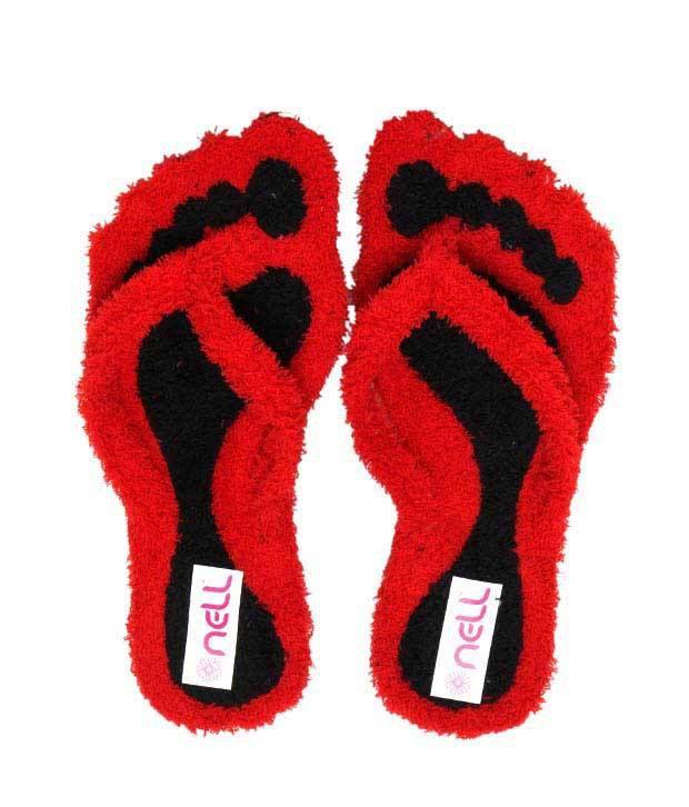 FNB-Nell Striking Red & Black Slippers