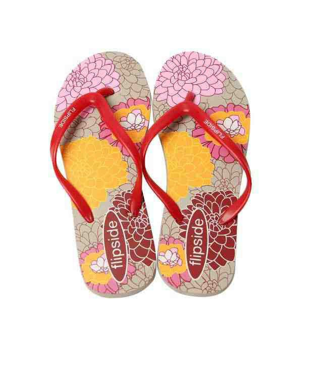 Flipside Blossom Grey & Red Flip Flops