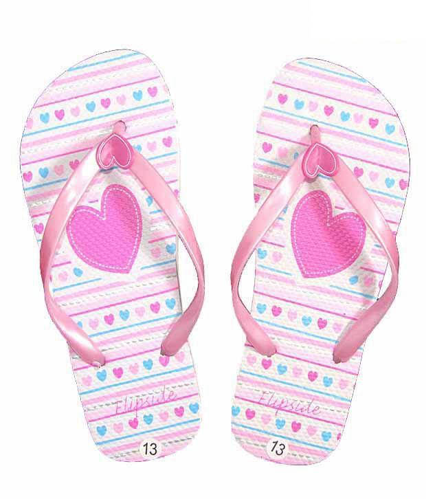 Flipside Pink & White Heart Printed Flip Flops
