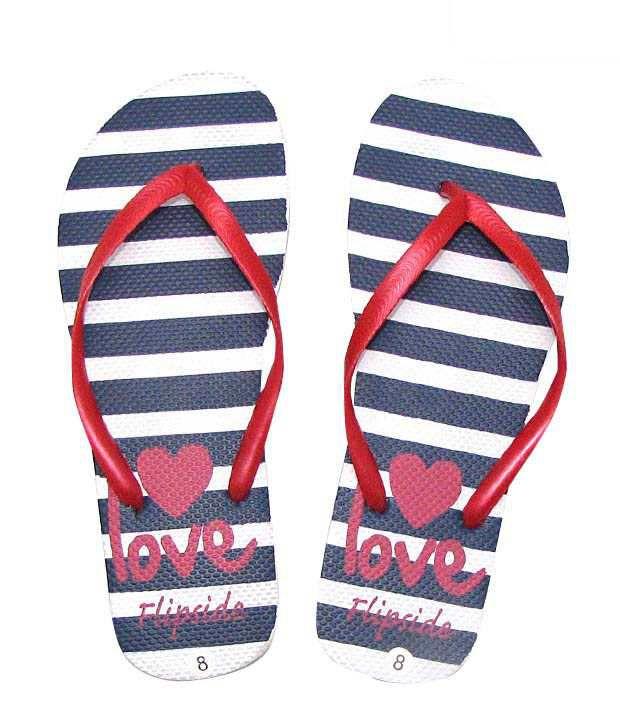 Flipside Red & Navy Blue Striped Flip Flops