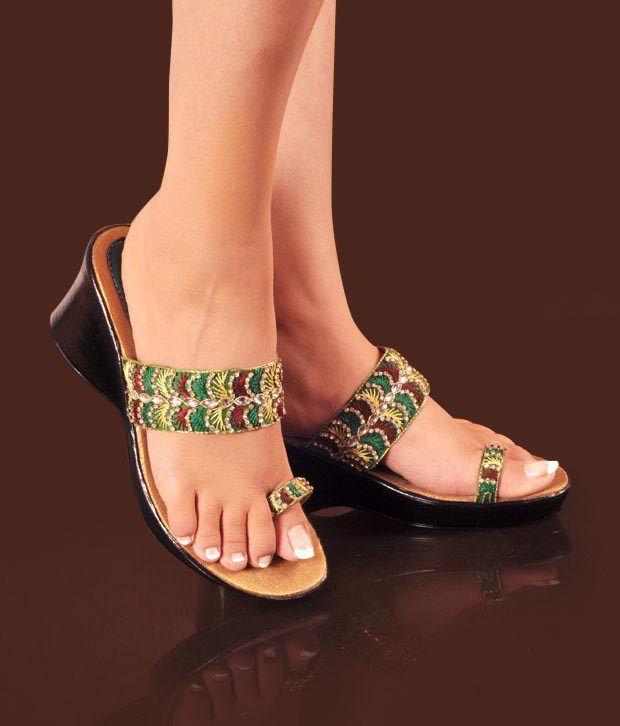 Neat Pretty Green & Red Heel Sandals