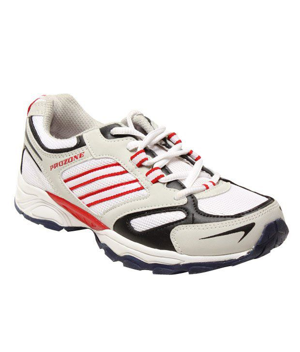 Prozone Comfy White & Red Sports Shoes