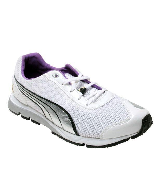 Puma Active White & Purple Sports Shoes