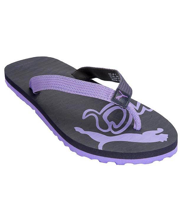 Puma Miami III Unisex Black & Purple Slippers