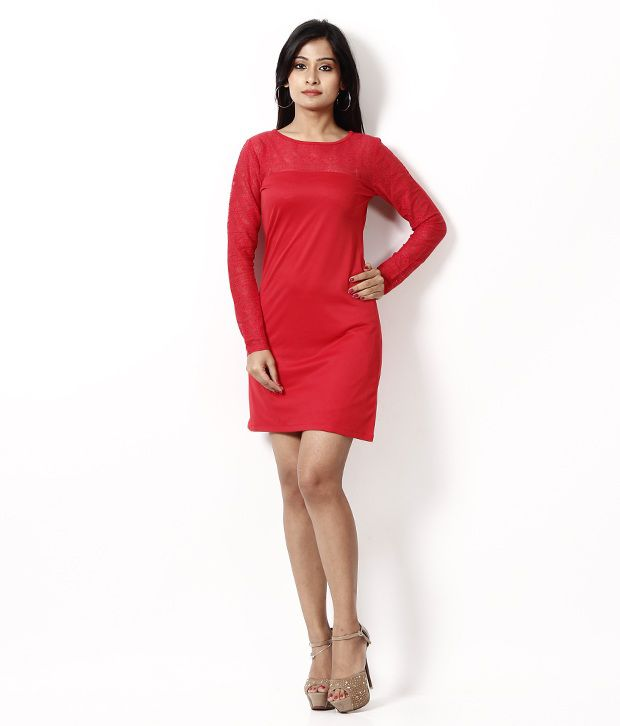 At499 Red Polyester Dresses