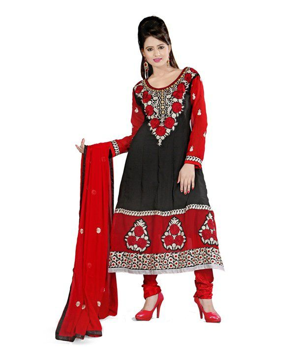 Fabdeal Black & Red Georgette Embroidered Semi-Stitched Suit