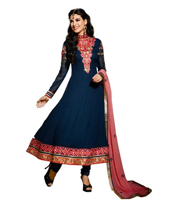 Fabdeal Party Wear Dark Blue Color Embroidered Semi-Stitched Salwar Suit