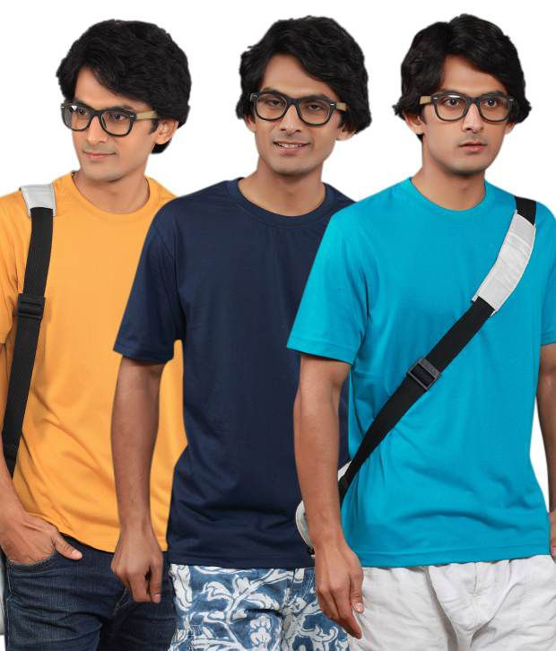 Fort Collins Pack Of 3 Yellow-Navy-Blue T Shirts