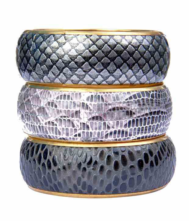 Free Esprit Silver Animal Printed Bangle Set - 3 Pcs