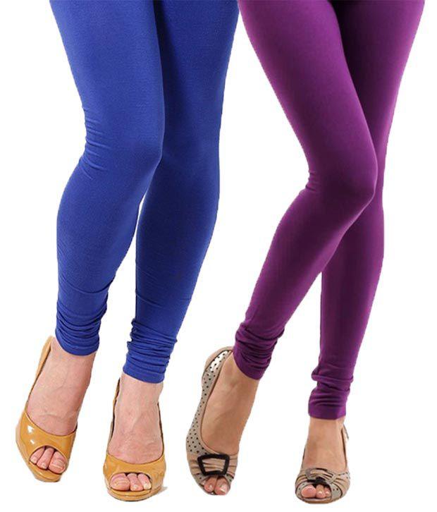 820fee79a40b5 Stylobby Purple Blue Cotton Lycra Leggings Pack of 2 Price in India - Buy  Stylobby Purple Blue Cotton Lycra Leggings Pack of 2 Online at Snapdeal