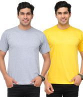 TSX Yellow-Light Gray Pack Of 2 Round Neck T Shirts With Free Sunglasses