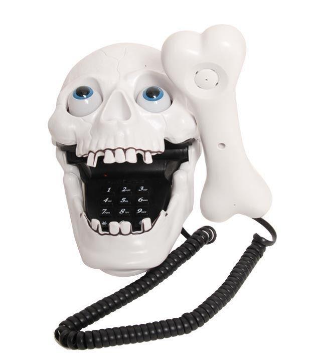 Aashrit Skull Style Corded Landline Phone (White)