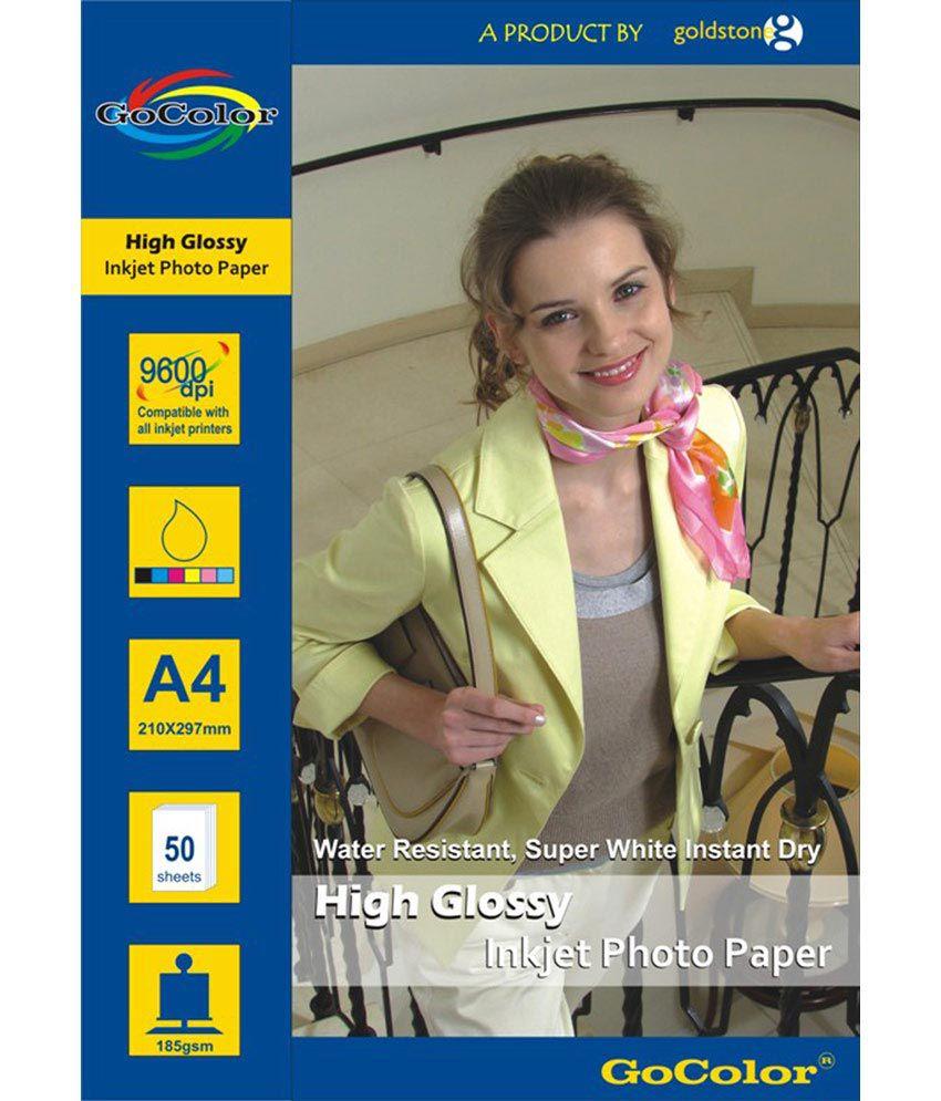 Gocolor High Glossy Inkjet Photo Paper 185 GSM 50 Sheets A4 Size