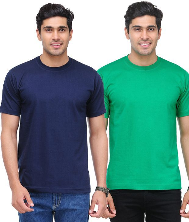TSX Green-Navy Pack of 2 Round Neck T Shirts With Free Sunglasses