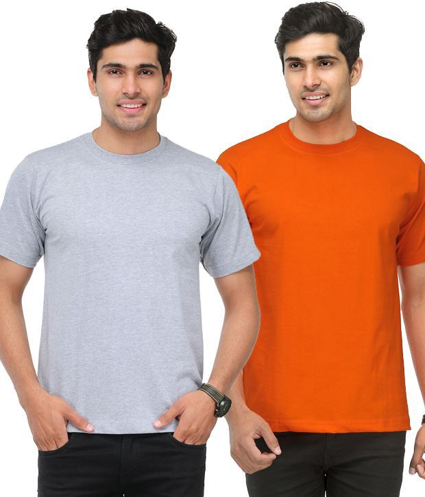 TSX Orange-Light Gray Pack of 2 Round Neck T Shirts With Free Sunglasses