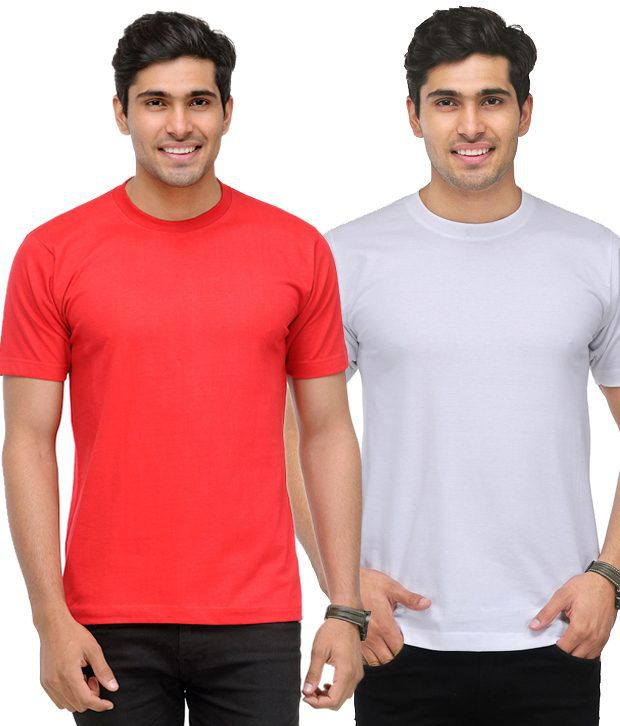 TSX White-Red Pack of 2 Round Neck T Shirts With Free Sunglasses