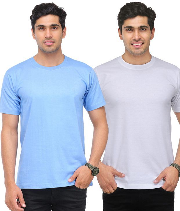 TSX White-Sky Blue Pack of 2 Round Neck T Shirts With Free Sunglasses