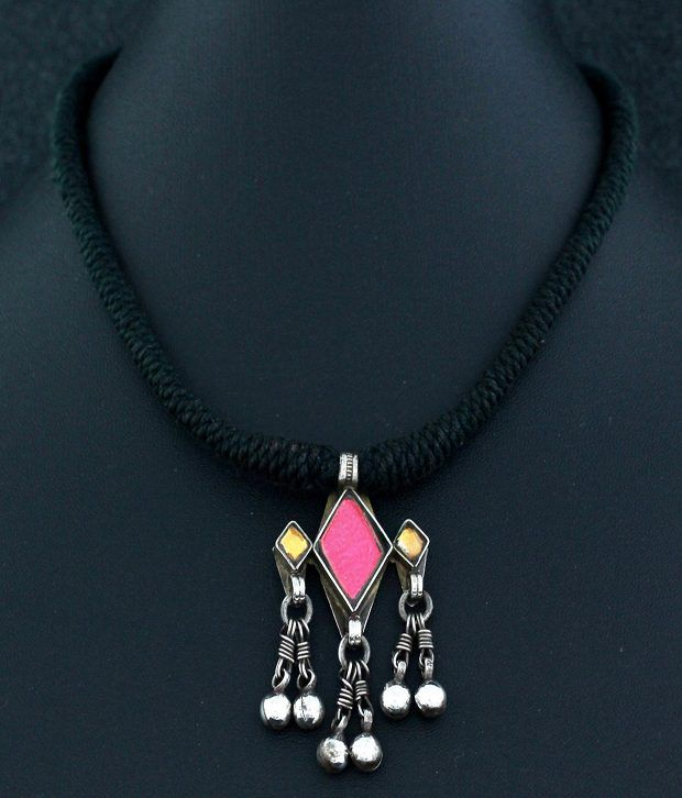 af95574fb6 925 Silver Traditional Black Thread Necklace With Silver Pendant: Buy 925  Silver Traditional Black Thread Necklace With Silver Pendant Online in India  on ...