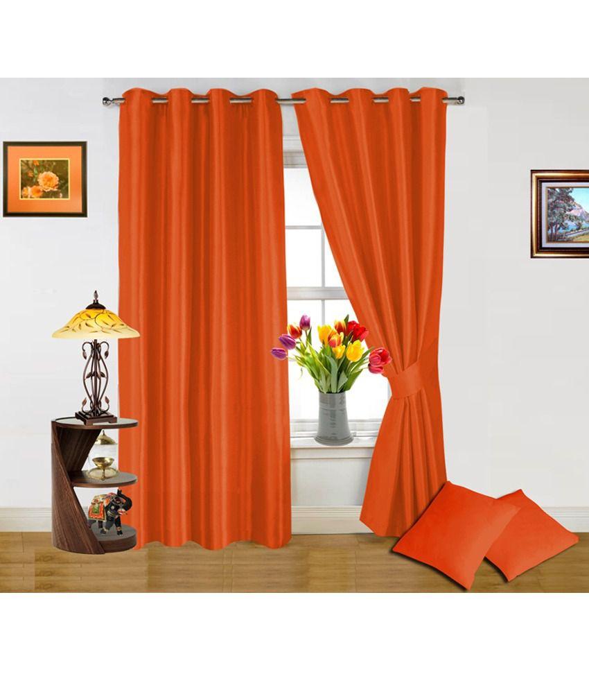 Dekor World Orange Curtain And Cushion Covers Combo (4 Pcs