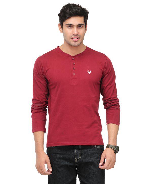 Phoenix Maroon Cotton T-Shirt