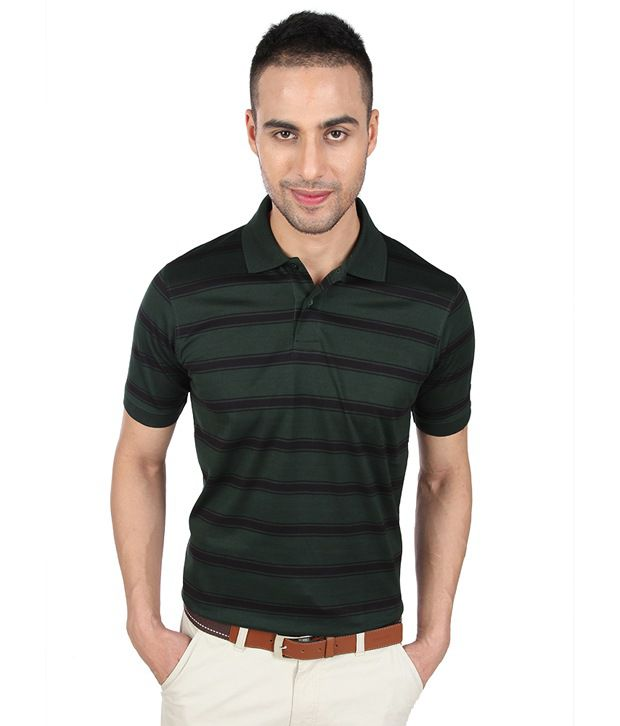 Proline Deep Green Striper Polo T Shirt