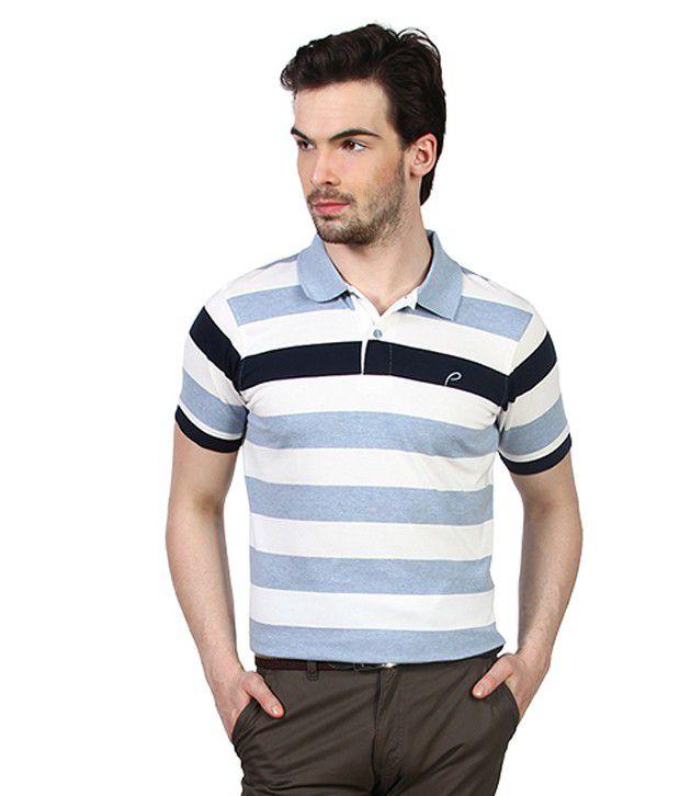 Proline Light Blue Striper Polo T Shirt