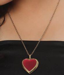Diva Red Heart Locket Necklace