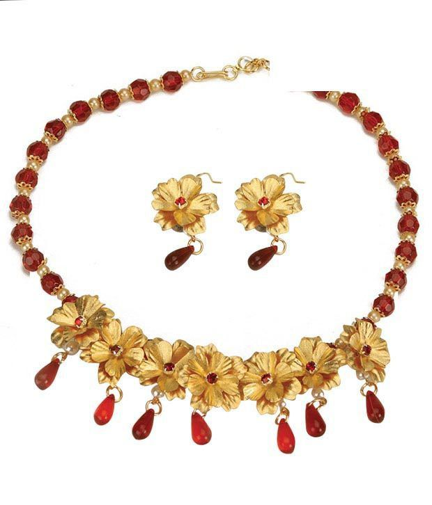 Aarya 24 kt Gold Floral Necklace Set
