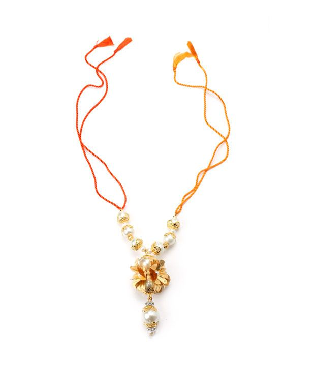 Aarya24kt Gold Foil Flower Lumba with Pearl Beads
