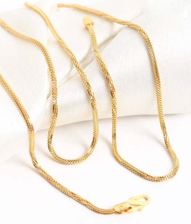 Aiza Square Twist Pattern 18kt Gold Unisex Chain
