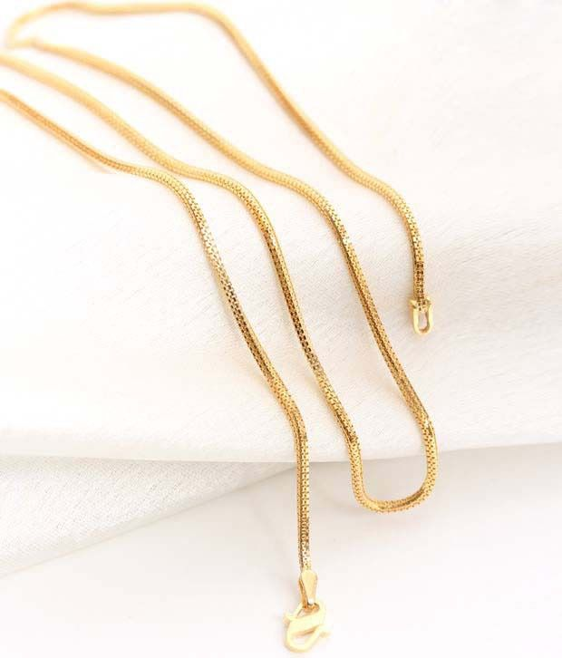 Aiza Thin Square Pattern 18kt Gold Unisex Chain