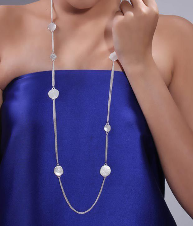 Bansri Stylish Crystal Disc Long Necklace