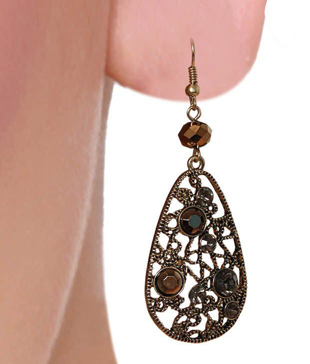 Diva Golden Crystal & Openwork Earrings