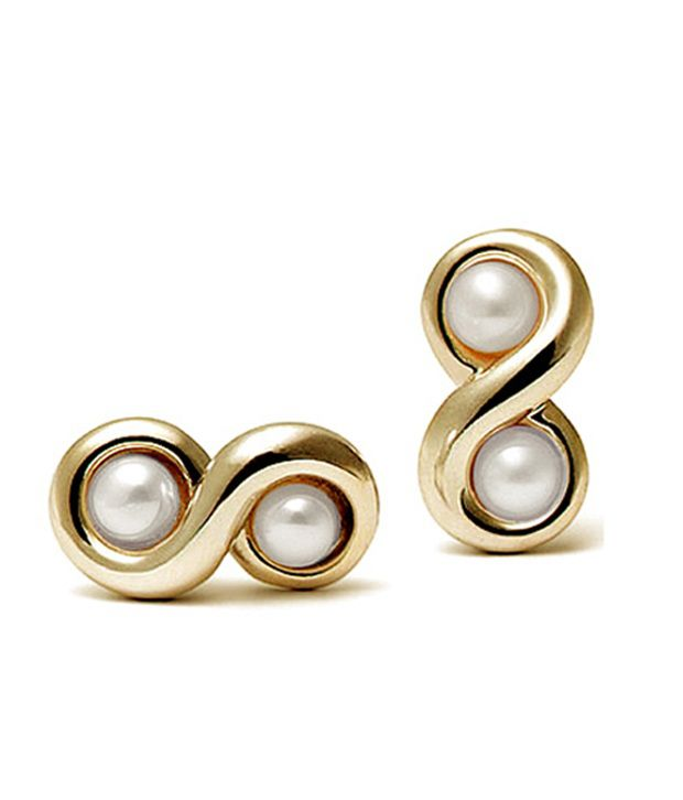 Facetz Double Pearl & Gold Earrings