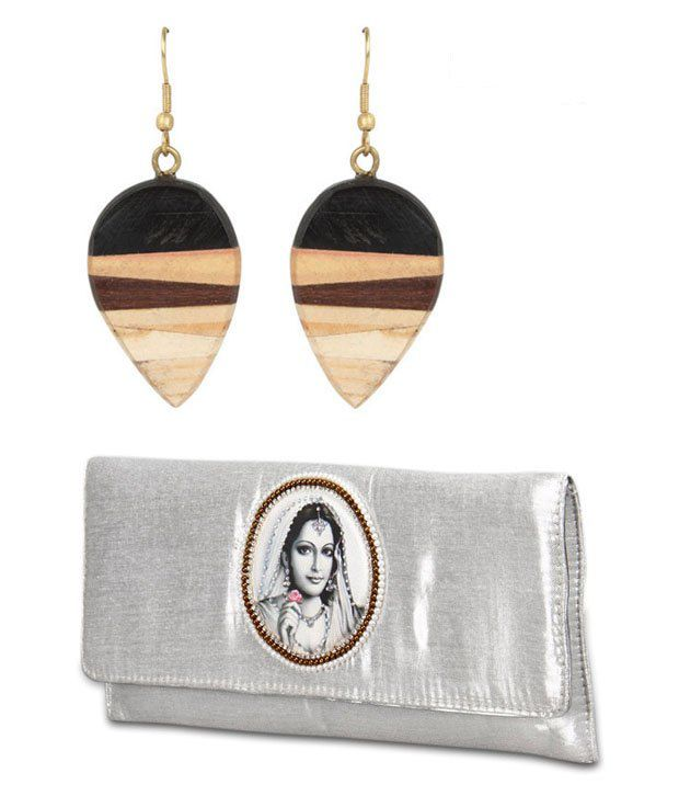 Favola Silver Clutch And A Pair Of Wooden Earrings Combo