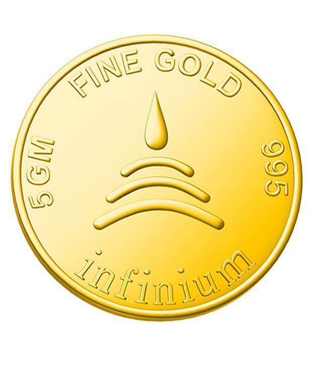 Infinium 24kt 5g 995 Purity BIS Hallmarked Flower Gold Coin