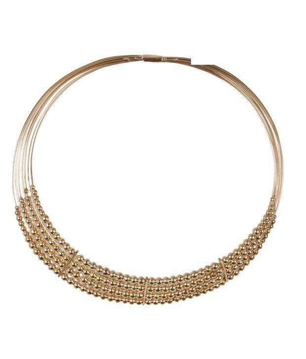 Jazz  Golden Beaded Choker Necklace