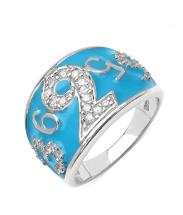 Johareez Divine Turquoise CZ Sterling Silver Ring