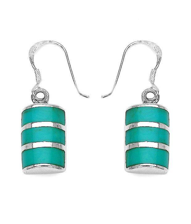 Johareez Pristine Blue Cylindrical Earrings