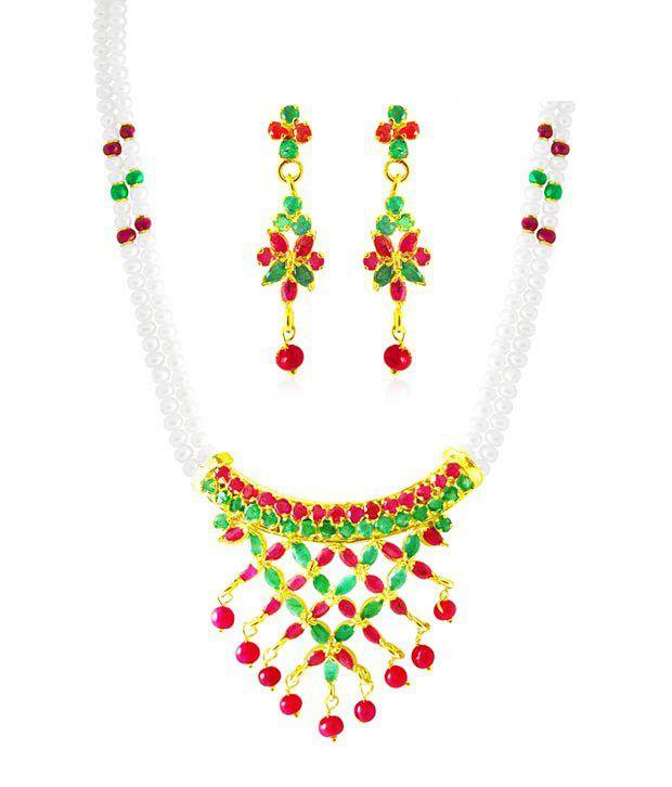 Sri Jagdamba Pearls CZ & Pearl Studded Alluring Necklace Set