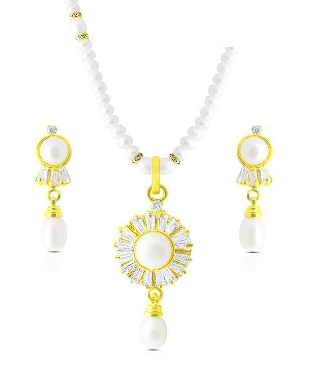 Sri Jagdamba Pearls CZ & Pearl Studded Plush Necklace Set