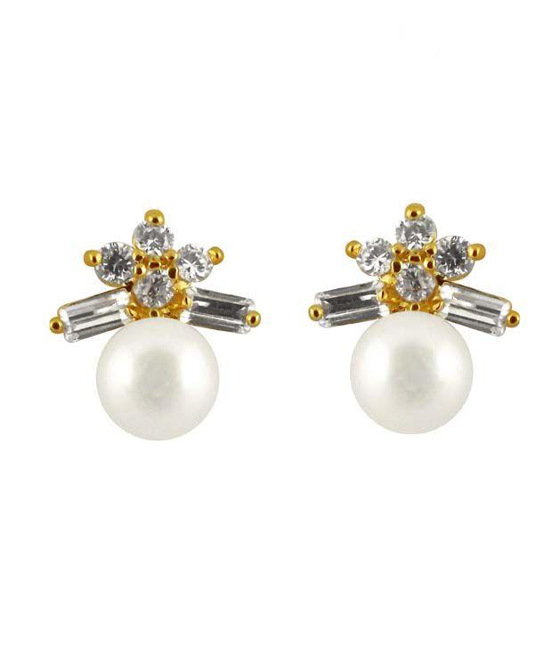 Sri Jagdamba Pearls CZ Stones Pearl Stud Earrings