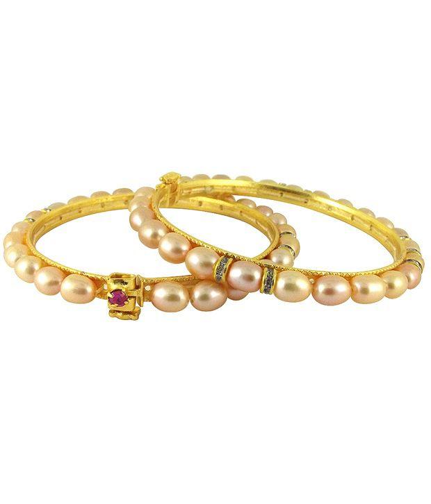 Sri Jagdamba Pearls Captivating Pearls & CZ Bangle Pair