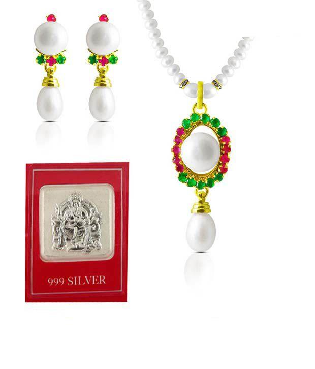 Sri Jagdamba Pearls Elegant Valentine Silver Coin & Pearl Necklace Set Hamper