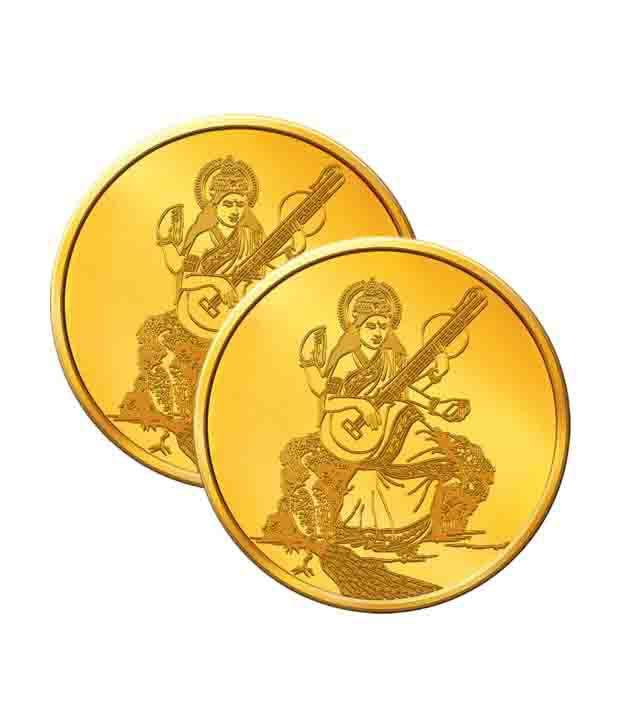 MNC 10 Gm 22kt Goddess Saraswati Gold Coin With 916 Fineness