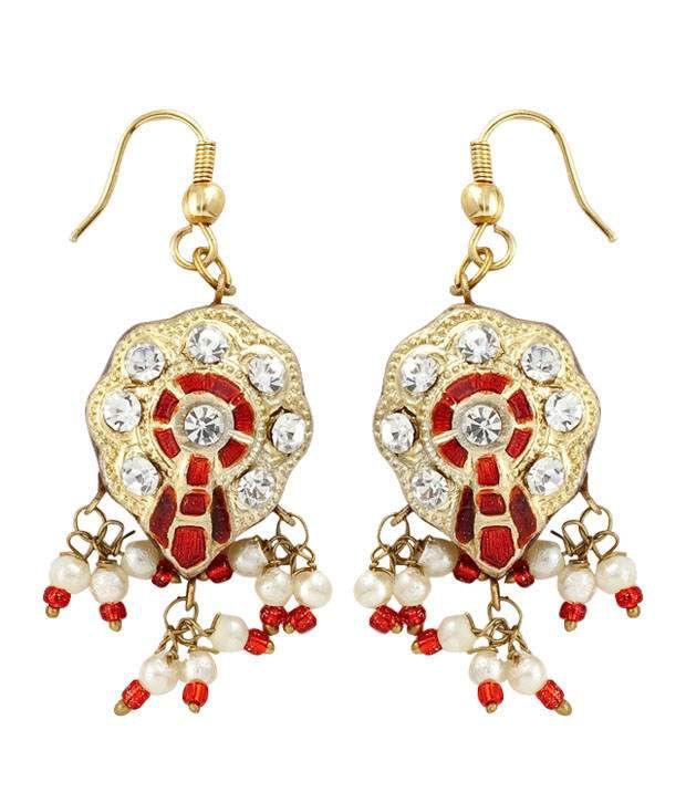 Opaleena Ethnic Golden & Orange Earrings