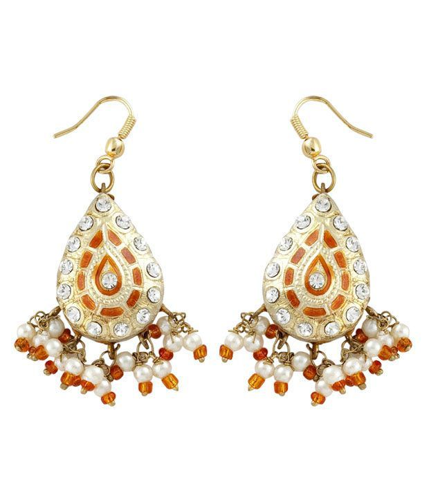 Opaleena Traditional Golden & Orange Earrings