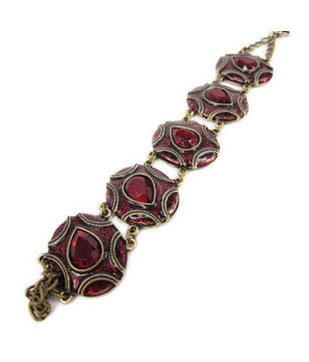 Pari Enamelled Red Stone Antique Bracelet