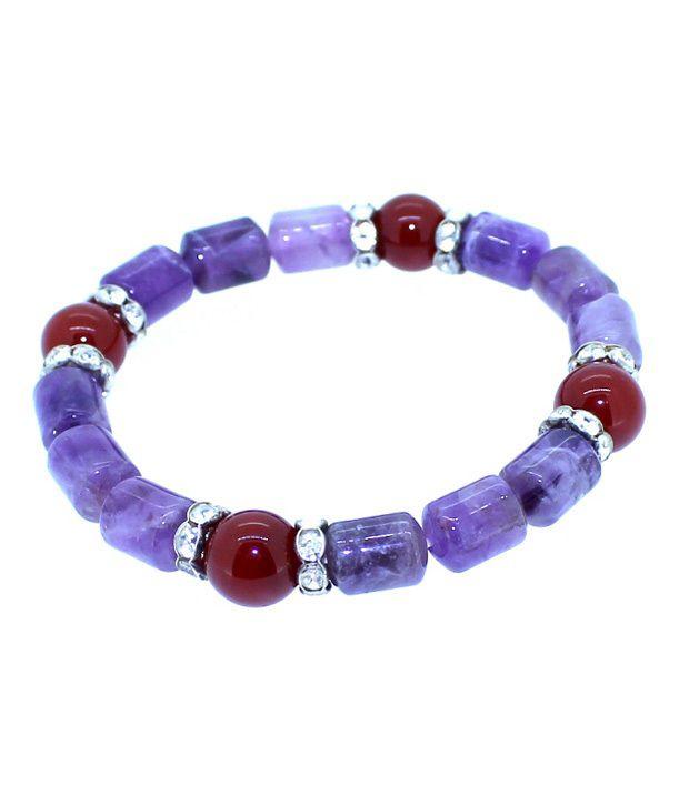 Piebee Amethyst & Carnelian Lucky Charm Bracelet