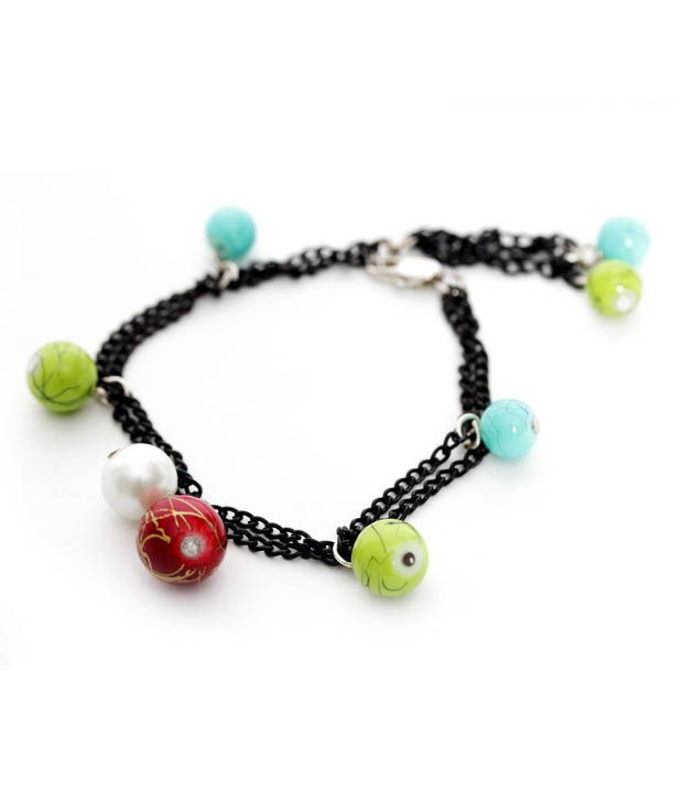Pretty Woman Multi Coloured Bead Charm Bracelet
